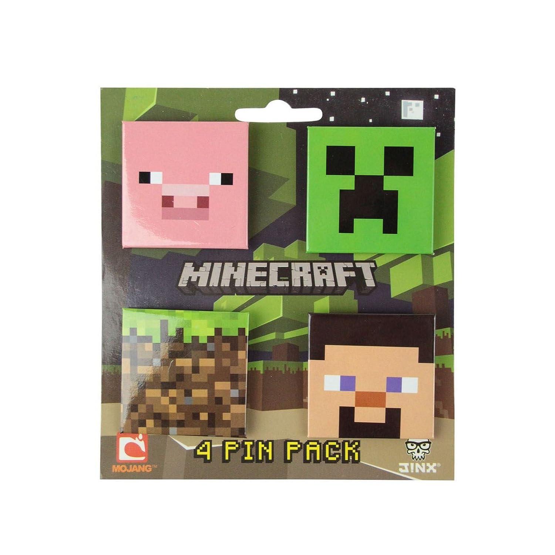 Minecraft Pin-Back Button 4-Pack J!NX JNX3316