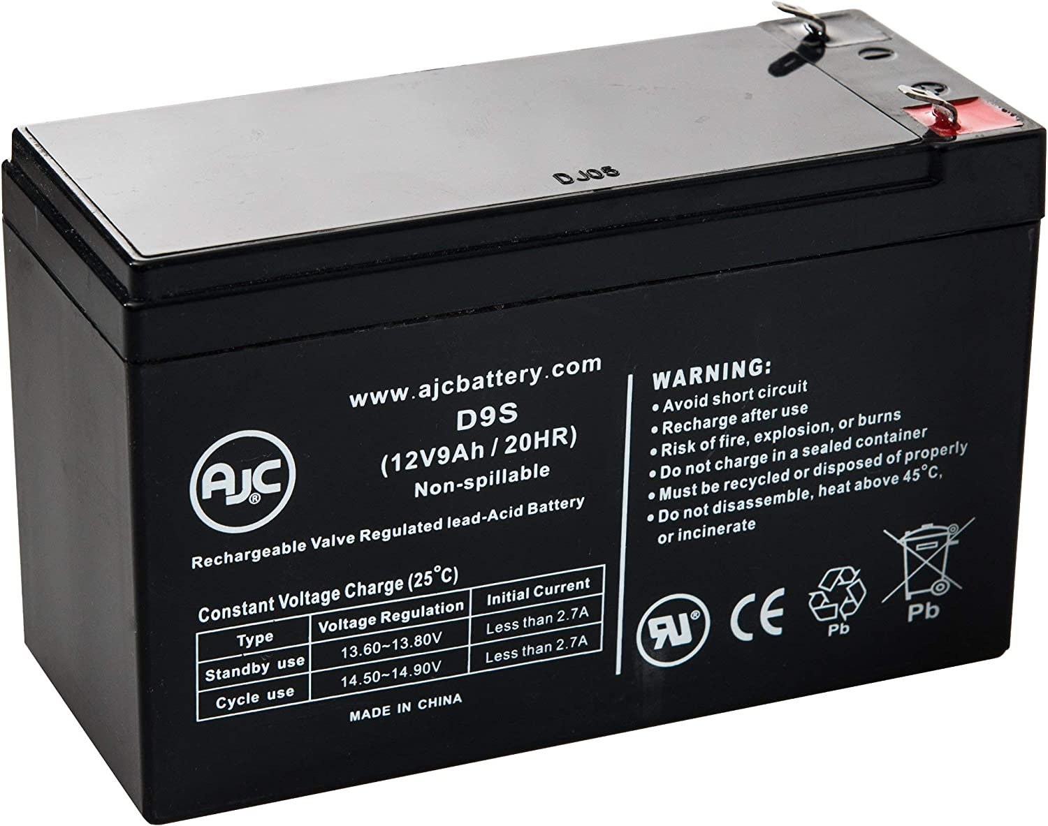 This is an AJC Brand Replacement 12V 9Ah UPS Battery Eaton PowerWare 5115 1000 VA
