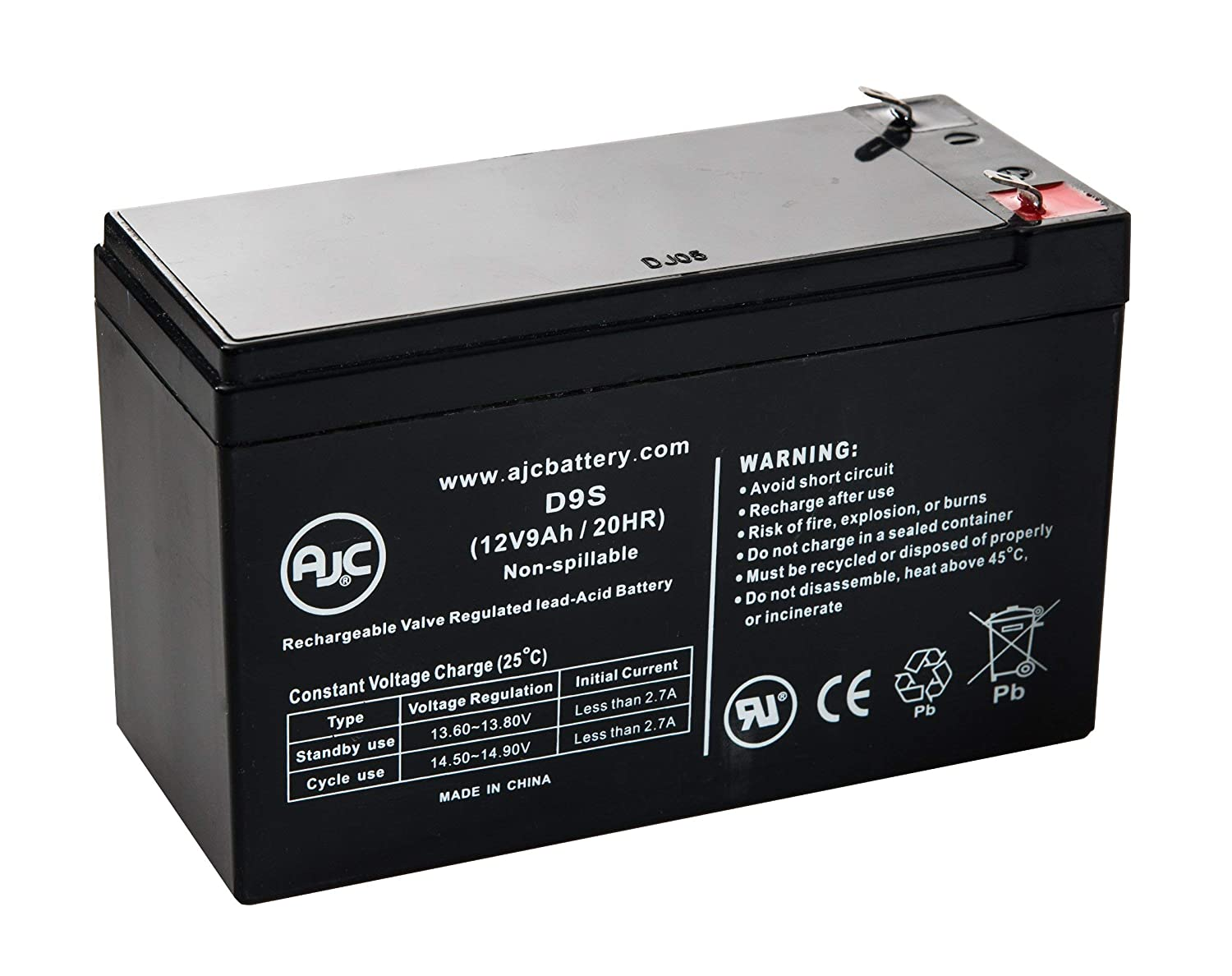 WKA12-9F2 12V 9Ah UPS Battery - This is an AJC Brand Replacement AJC Battery