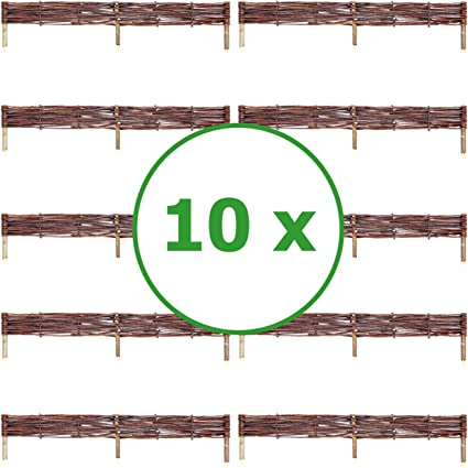Floranica® Steckzaun-Weide Rasenkante Beeteinfassung Palisade Zaun 10 cm hoch
