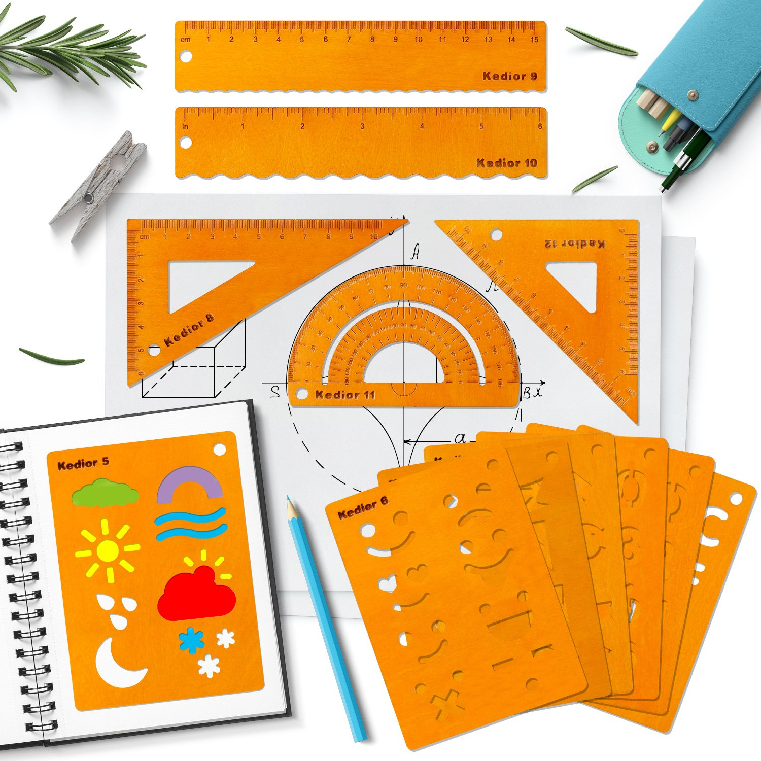 Bullet Journal Accessories for DIY Drawing on Scrapbook,12 Pieces Wooden Planner Stencil and Math Geometry Tool Wooden Ruler Sets with Different Patterns for Journal,Notebook,Diary,Art Craft Projects,Schedule Book DIY Drawing Templates KEDIOR