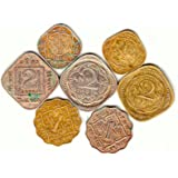 Collection House 7 Different British India Coins 2 Annas (3 Types)1 Anna (2 Types) and 1/2-Anna (2 Types) .