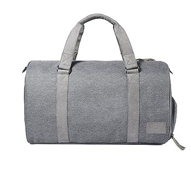 Oversized Canvas Genuine Leather Trim Travel Tote Duffel Shoulder Handbag  Weekend Bag (Gray) 236ad56f4f066