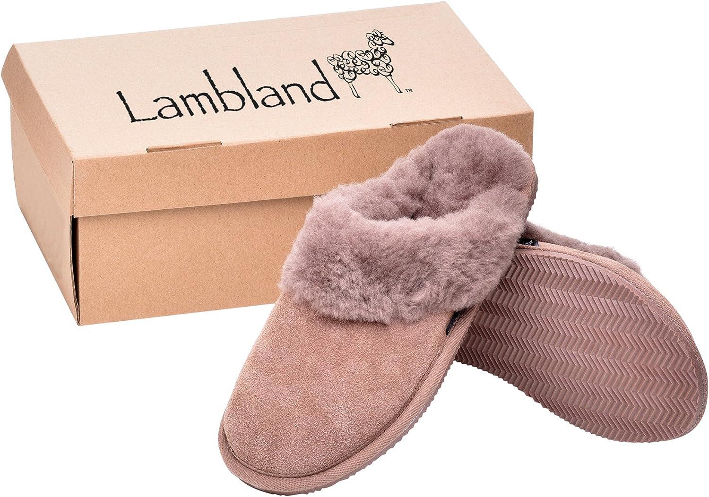 Lambland Ladies Genuine Sheepskin Wool Lined Scuff Slippers Paw Print Hard Sole