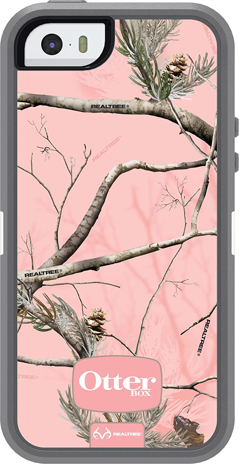 OtterBox DEFENDER SERIES Case for iPhone SE (1st gen - 2016) and iPhone 5/5s - Retail Packaging - REALTREE AP PINK (WHITE/GUNMETAL GREY/AP PINK DESIGN)