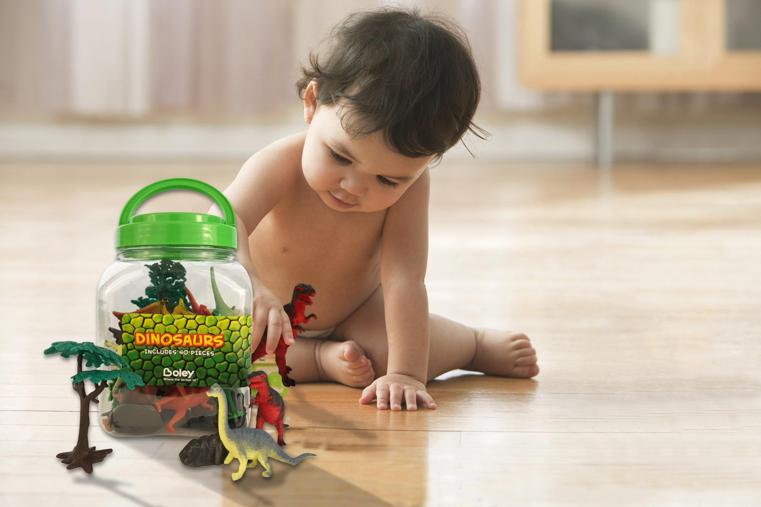 Boley 40 pc Big Bucket of Dinosaurs - Tub of educational dinosaur ...