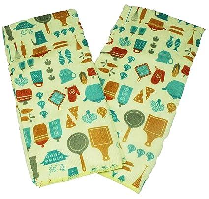 Juego de 2 toallas de cocina amarillas y azules, juego de regalo de microfibra con