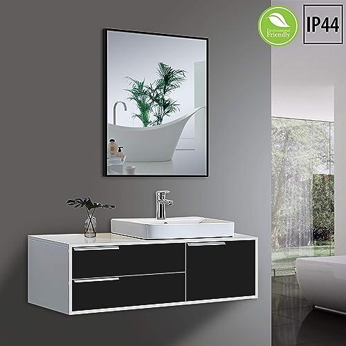 Yukon Clean Large Modern Rectangular Bathroom Frame Wall Mirror, Contemporary Premium Silver Glass Panel Aluminium Black Frame, IP Rate 44 Waterproof, Horizontal or Vertical Hangs 24×32 Inch