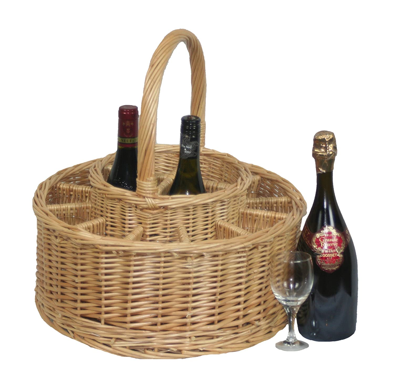 Medium Red Hamper Unisexs Garden Picnic Basket Complete with 12 Glasses Brown