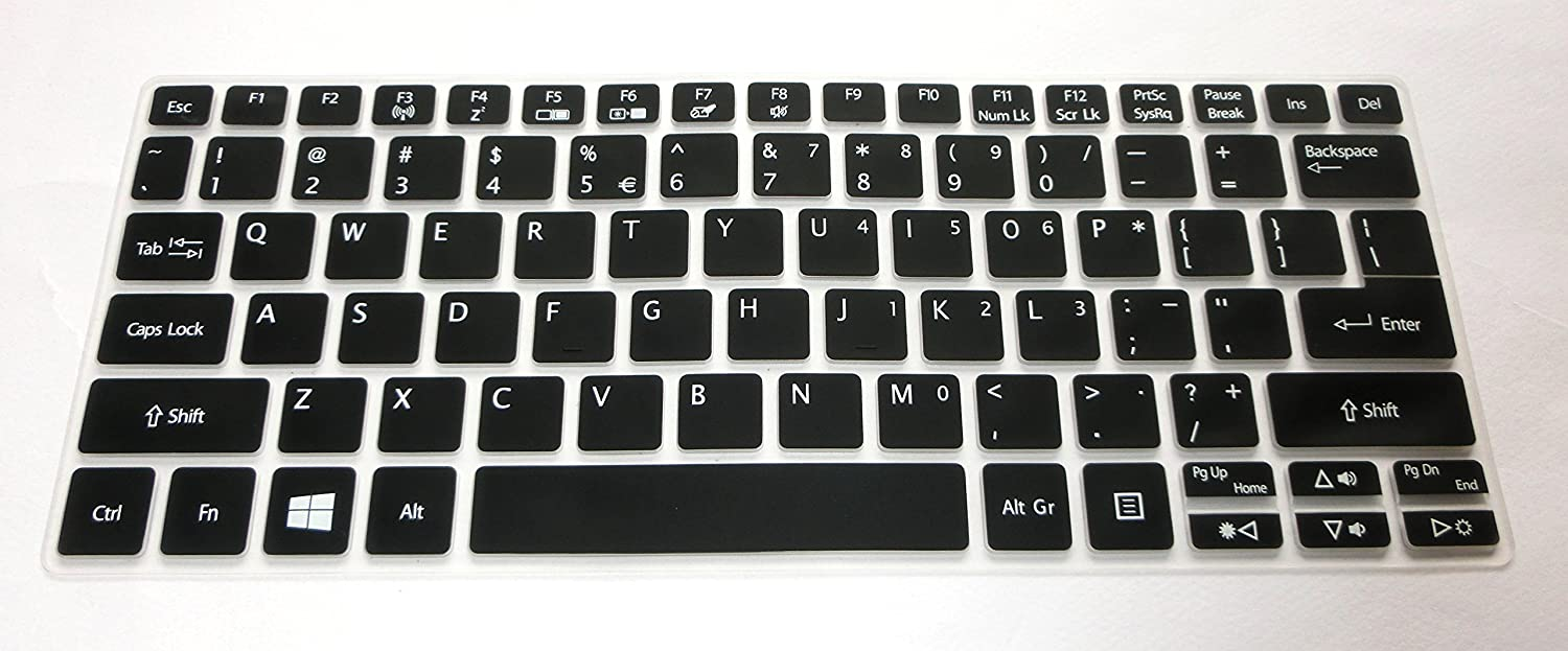 BingoBuy US Layout Silicone Keyboard Protector Cover Skin for ACER Aspire V3-372T, R 11(R3-131T), Switch 11(SW5-171), Switch 11 V(SW5-173) (semi-Black)