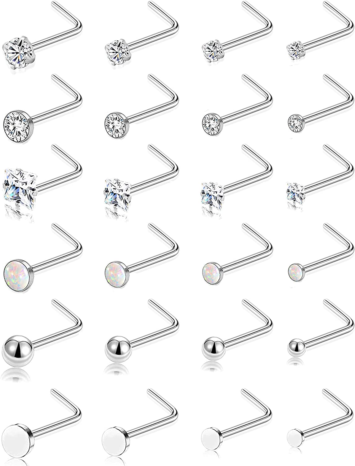 Tornito 20G 24Pcs Stainless Steel Bone L-Shaped Screw Nose Studs Flat Ball CZ Opal Nose Body Piercing Jewelry for Men Women 1.5-2-2.5-3MM