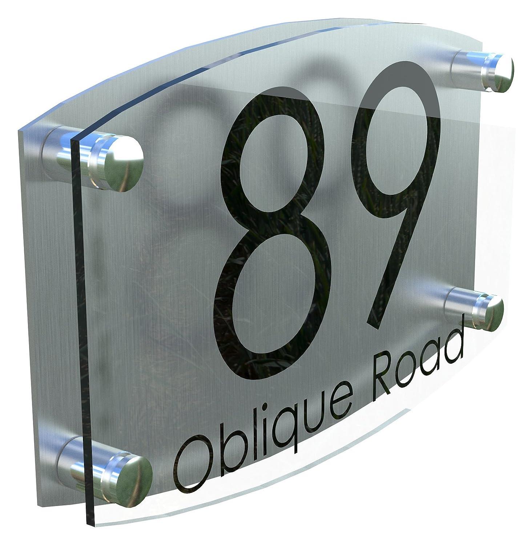 MODERN HOUSE SIGN PLAQUE DOOR NUMBER STREET GLASS EFFECT ACRYLIC ALUMINIUM NAME K Smart Sign Ltd