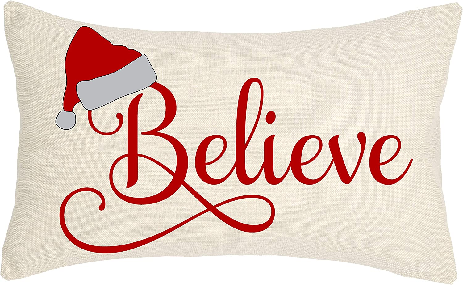 4TH Emotion Red Christmas Hat Believe Throw Pillow Cover Letter Cushion Case for Sofa Couch 12x20 Inches Cotton Linen