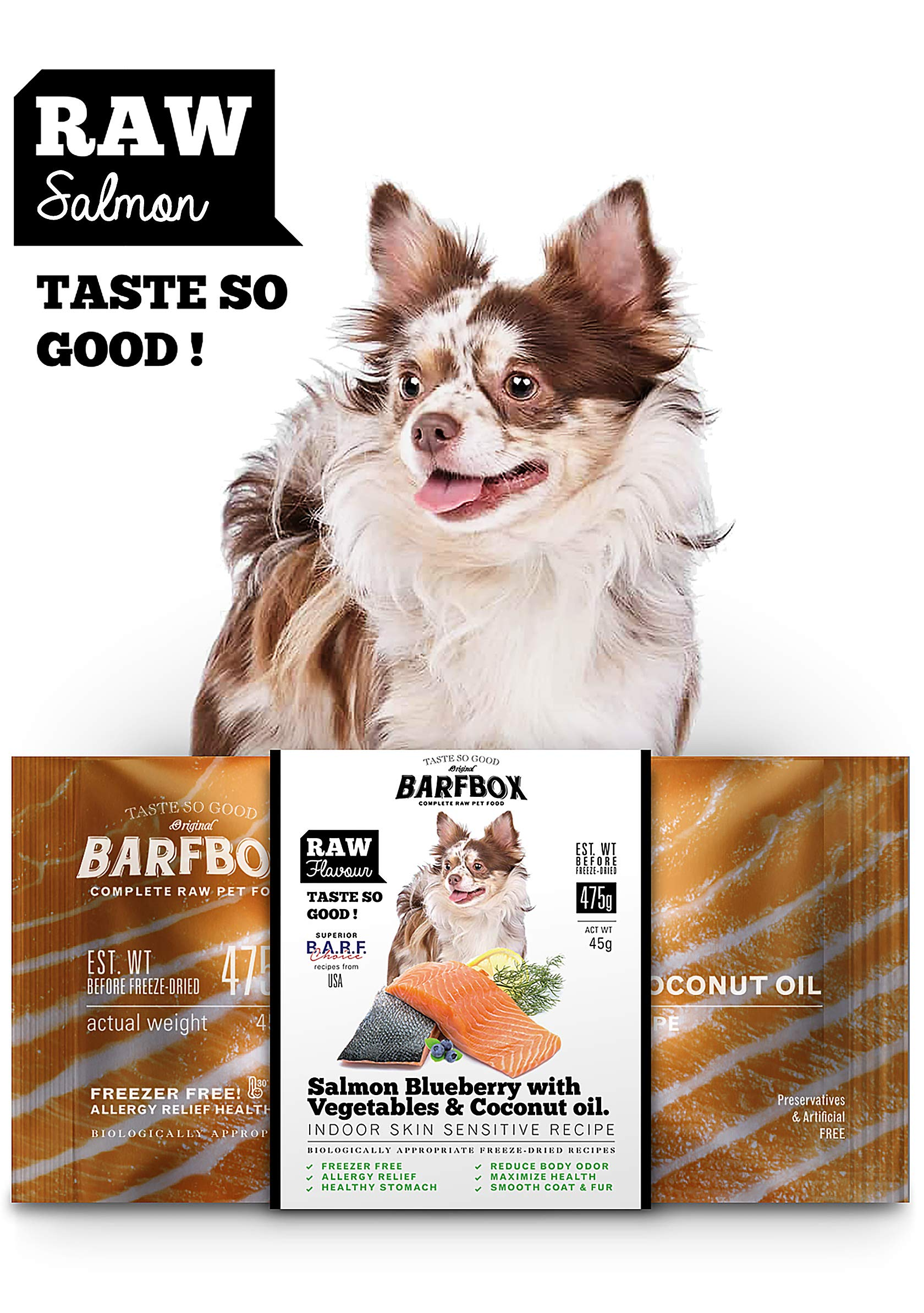 BARFBOX Freeze-Dried Barf Raw Dog Food Complete High Protein, Formula Salmon Blueberry & Mixed Vegetable & Coconut Oil for Indoor Sensitive Skin Recipe & Healthy Short & Long Hair Dog 45 g. by BARFBOX