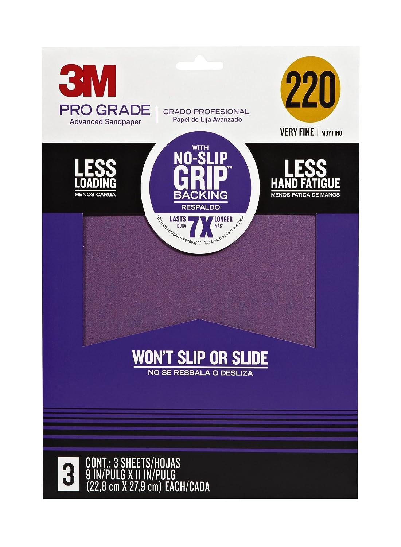 3M 25220P-G Pro Grade No-Slip Grip Advanced Sandpaper, 9-Inch x 11-Inch, 220 Grit, Pack of 3