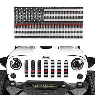 Hooke Road Jeep Wrangler Front Grille Deflector Guard, US American Flag Thin Red Color for 2007-2020 Wrangler JK & Unlimited: Automotive