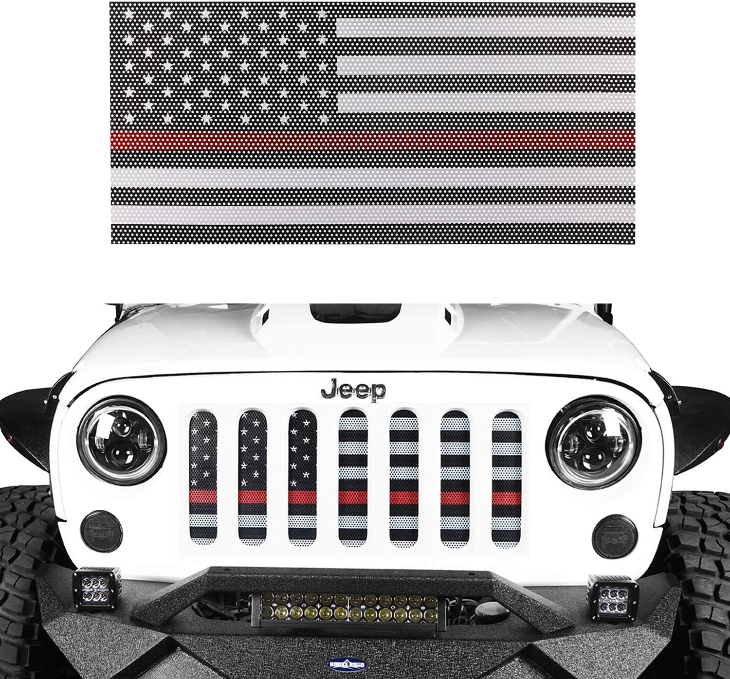 Hooke Road US Flag Front Grille Insert Deflector Guard for 2007-2018 Jeep Wrangler JK & Unlimited - Thin Red