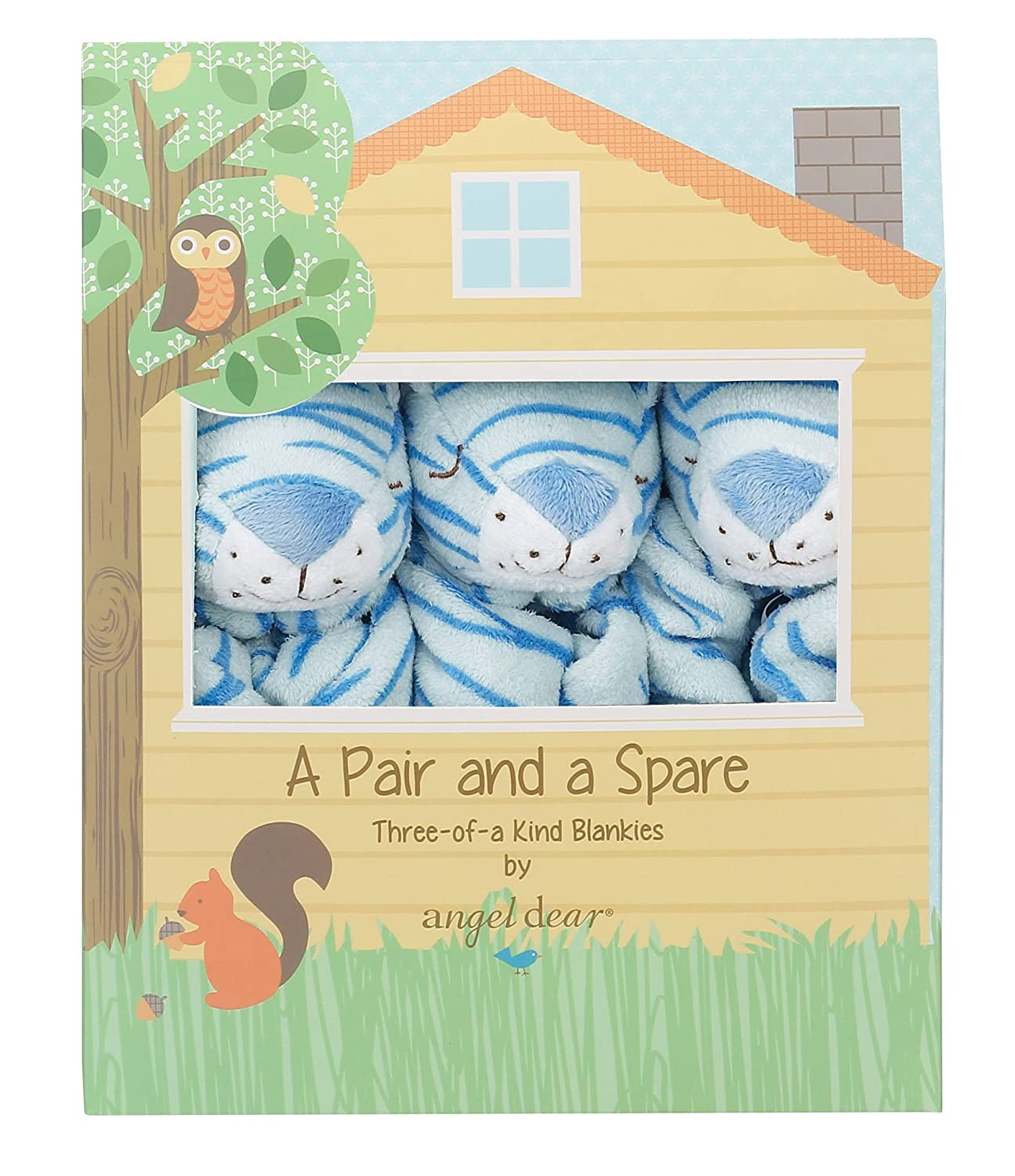 Angel Dear Pair and a Spare 3 Piece Blanket Set, Blue Elephant 1109S