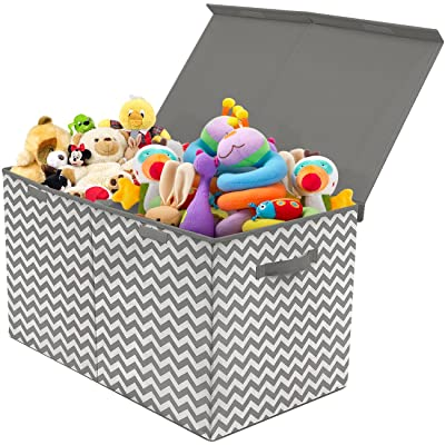 Sorbus Toy Chest with Flip-Top Lid, Kids Collapsible Storage for Nursery, Playroom, Closet, Home Organization, Large (Pattern - Chevron Gray): Baby