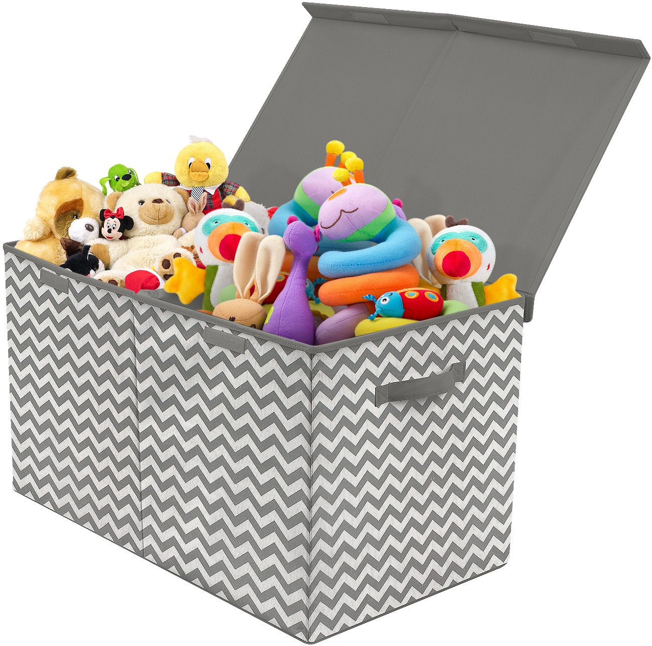 Sorbus Toy Chest with Flip-Top Lid, Kids Collapsible Storage for Nursery, Playroom, Closet, Home Organization, Large (Pattern - Chevron Gray) by Sorbus