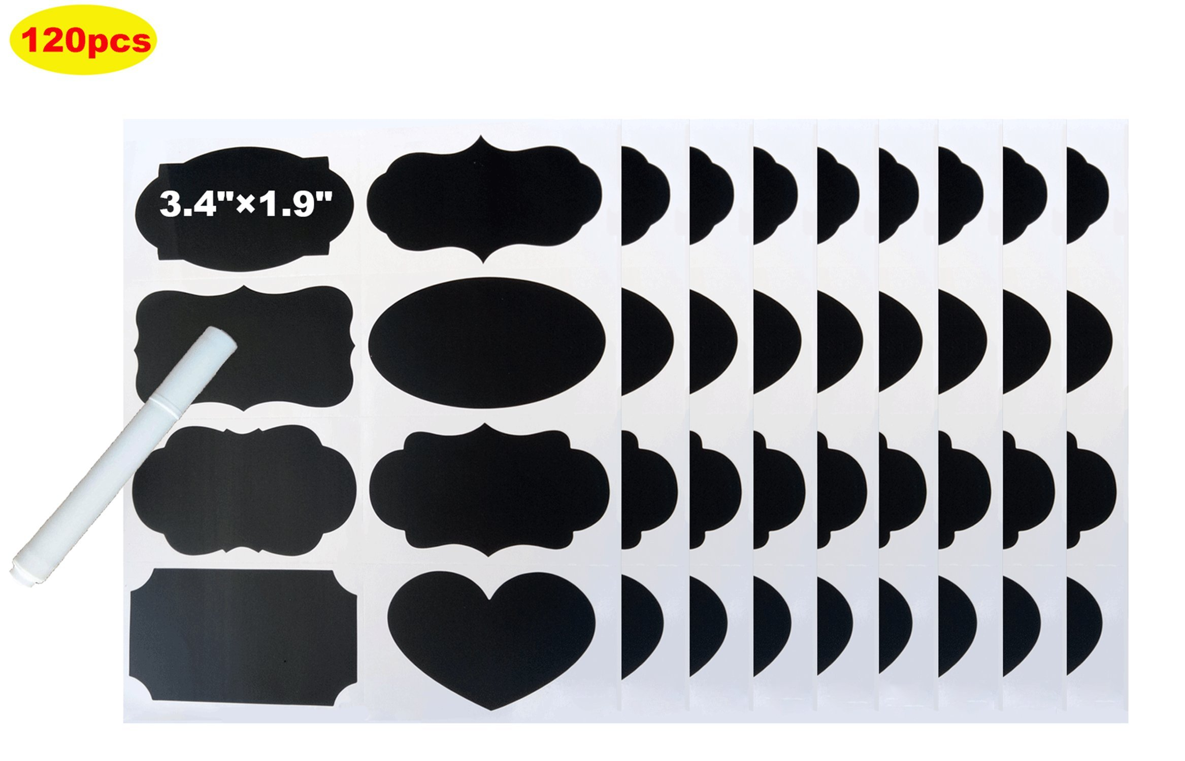 Chalkboard Labels, Pantry and Storage Chalk Stickers for Mason Jars,Spice, Glass, Bottles, Containers & Canisters, 120pcs Large Decorative Reusable Waterproof Blackboard Vinyl Set with 1 Chalk Marker