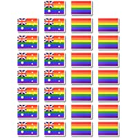 Fiomia Pride Tattoos Temporary Australian Rainbow Flag Stickers for Parades Festival Party Waterproof Body Paints Removable 30Pcs