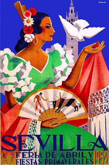 1952 feria de Sevilla Feria de Sevilla España vintage de viaje anuncio Póster: Amazon.es: Hogar