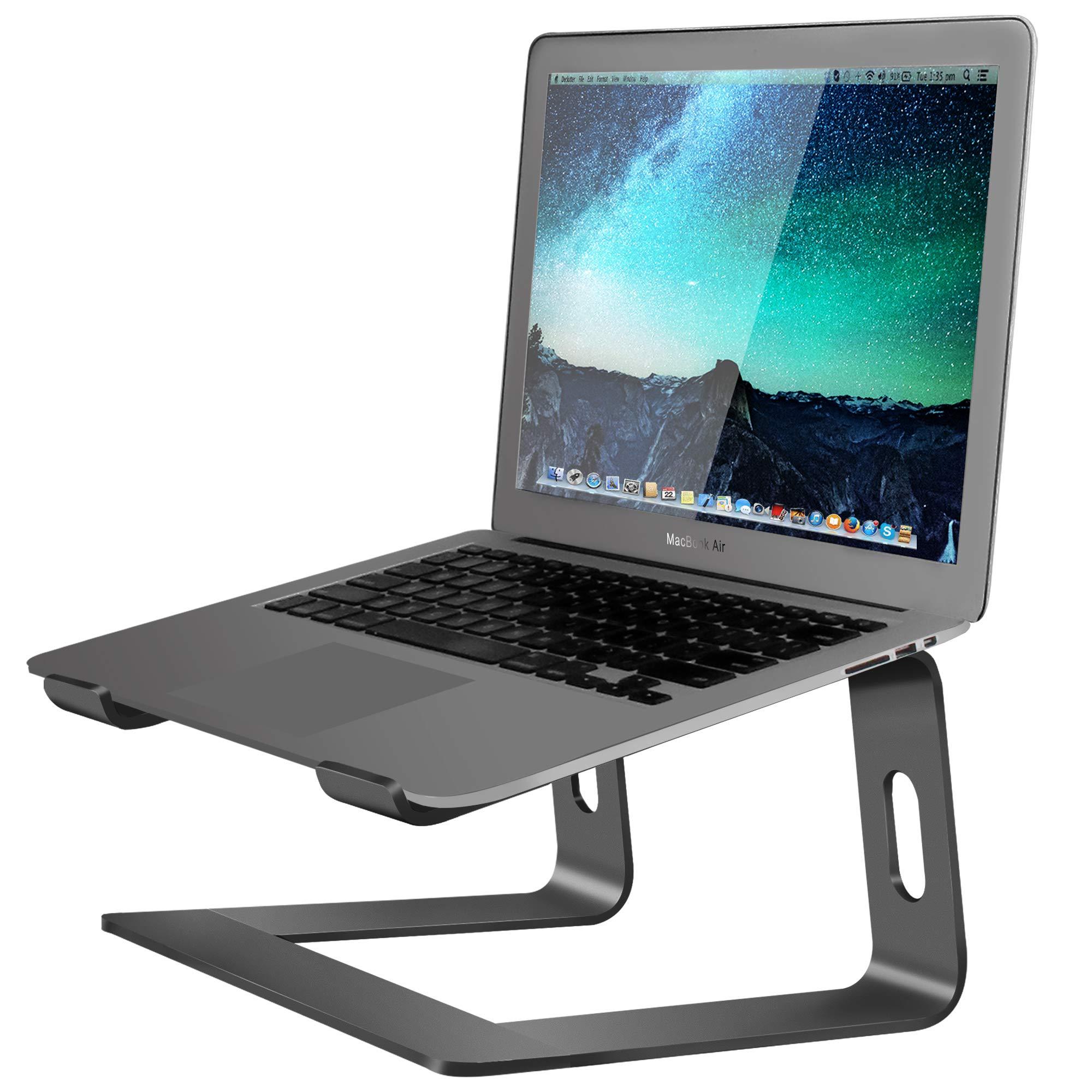 Soundance Aluminum Laptop Stand for Desk Compatible with Mac MacBook Pro Air Apple Notebook, Portable Holder Ergonomic Elevator Metal Riser for 10 to 15.6 inch PC Desktop Computer, LS1 Black by Soundance