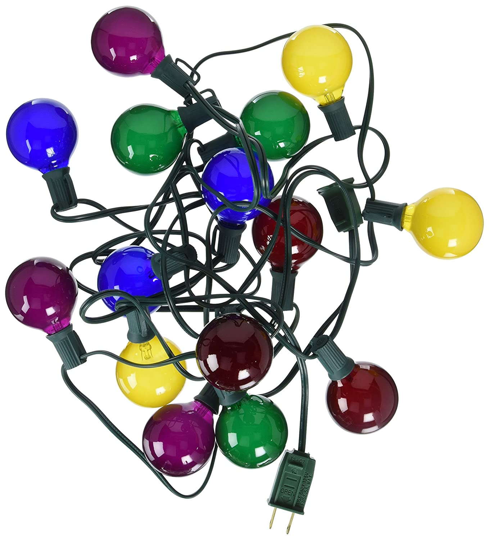Multicolored Vickerman 15 Count Satin G50//E12 Light Set-Green Wire