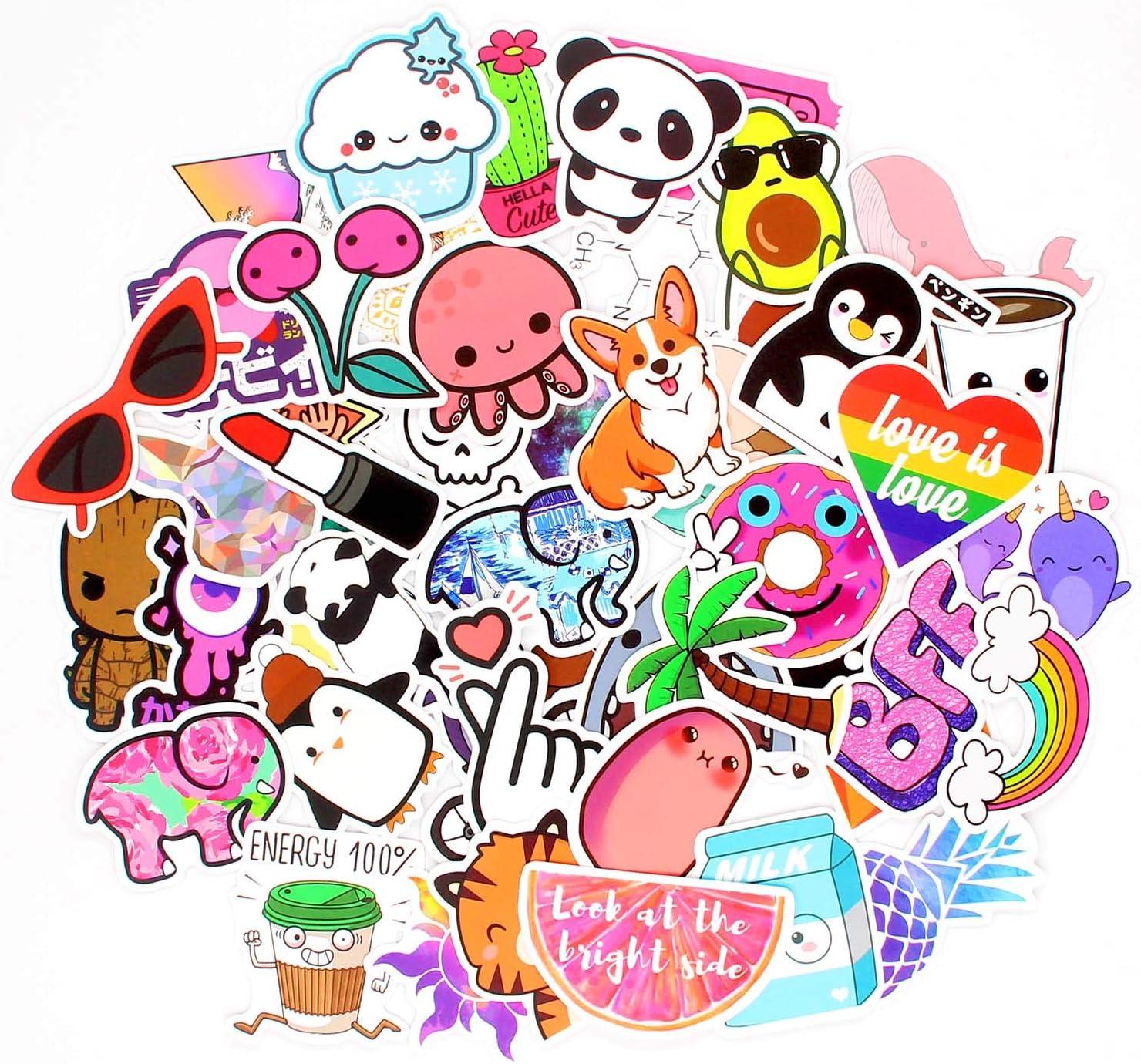 HUIZHE Kawaii Stickers for Kids, 50 Pcs Vinyl Waterproof Cool Stickers Decal for Hydroflask, Laptops, Folders, Refrigerators, Walls, Windows, Girls (Vsco)