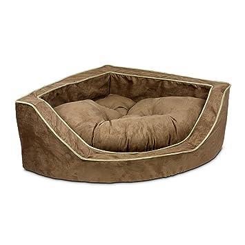 Lujo esquina cama para mascotas - grande/café/turba: Amazon ...