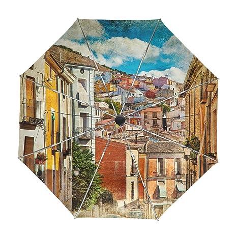 ALAZA Calles y edificios España pintura de colores Viajes paraguas de apertura automática Cerca de Protección