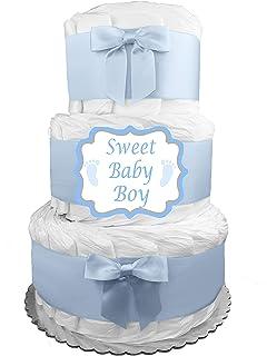 Amazon.com: clásico azul Baby Shower pasteles de pañales (3 ...