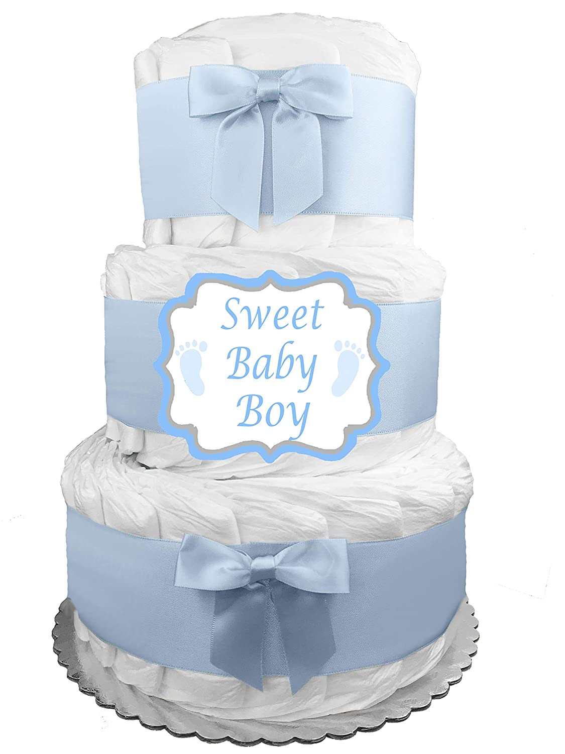 Elephant 3-Tier Diaper Cake – Baby Shower Gift – Blue and Gray