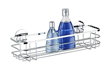 WENKO 21778100 Turbo-Loc Stainless Steel Maxi Shelf - Fixing Without Drilling, Stainless Steel