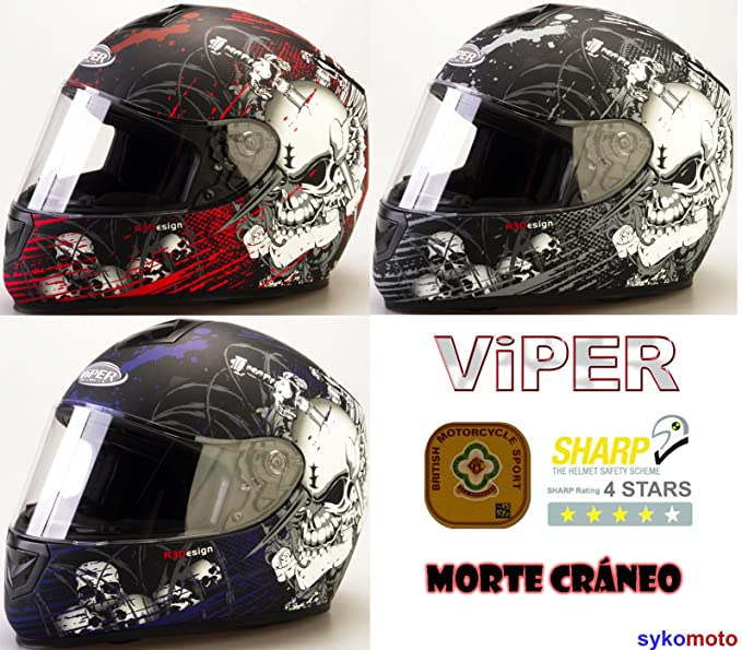 Amazon.es: VIPER RS-250 MORTE CRÁNEO DISEÑO MATE MOTOCICLETA CRASH CASCO INTEGRAL (M, ROJO)