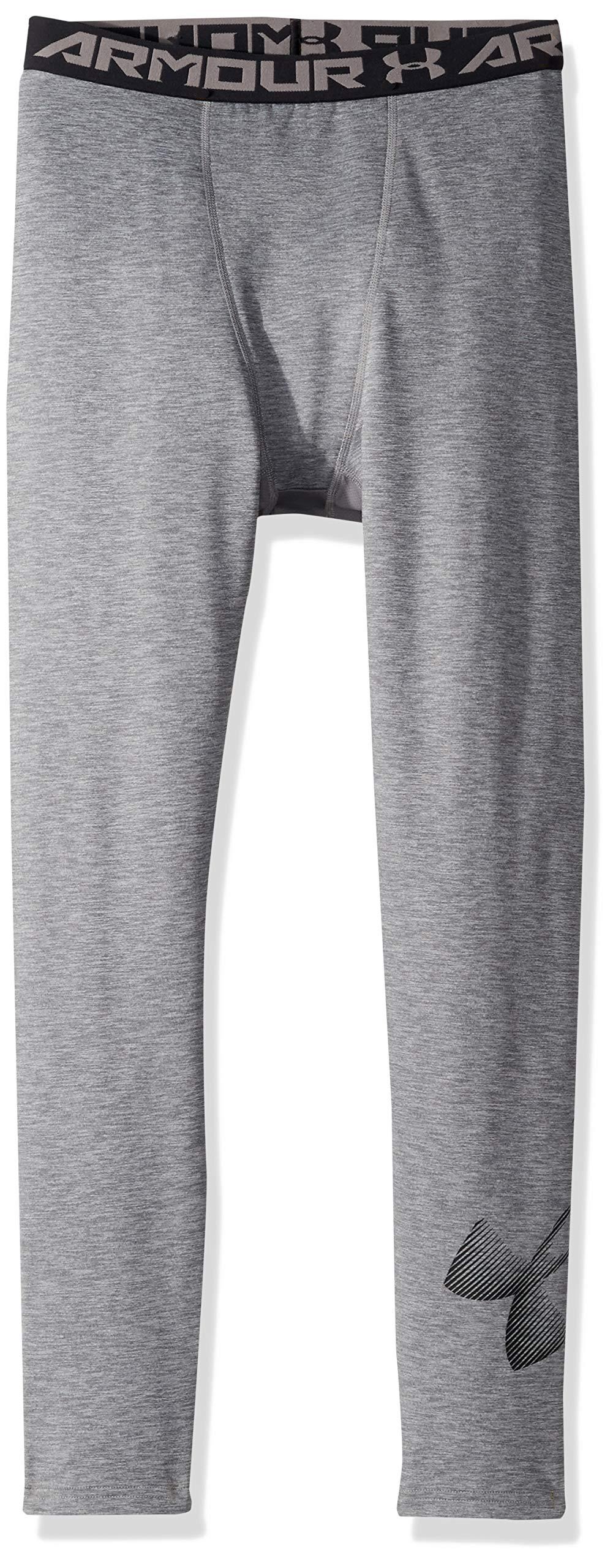 Under Armour Boys' ColdGear Leggings, Graphite Light Heath (040)/Black, Youth Large