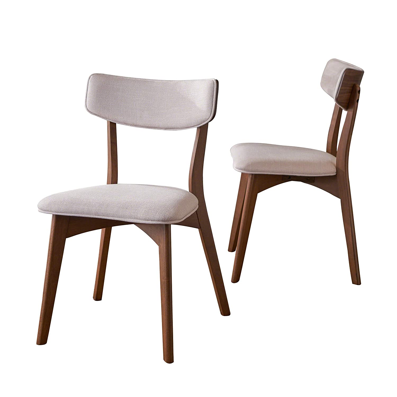 Amazon com molly mid century modern light beige dining chairs with natural walnut finished rubberwood frame set of 2 chairs