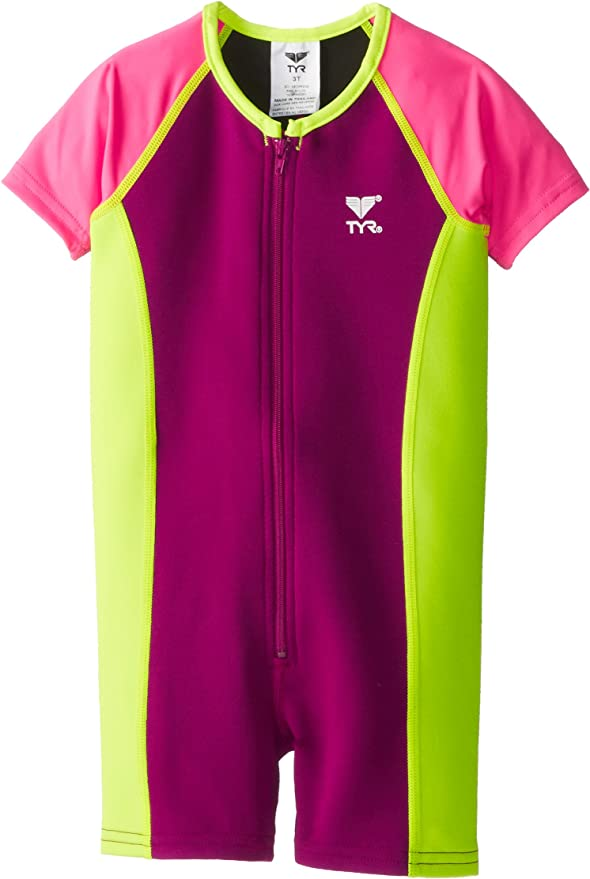 TYR Girls Solid Thermal Suit 2T Pink//Mint//Royal