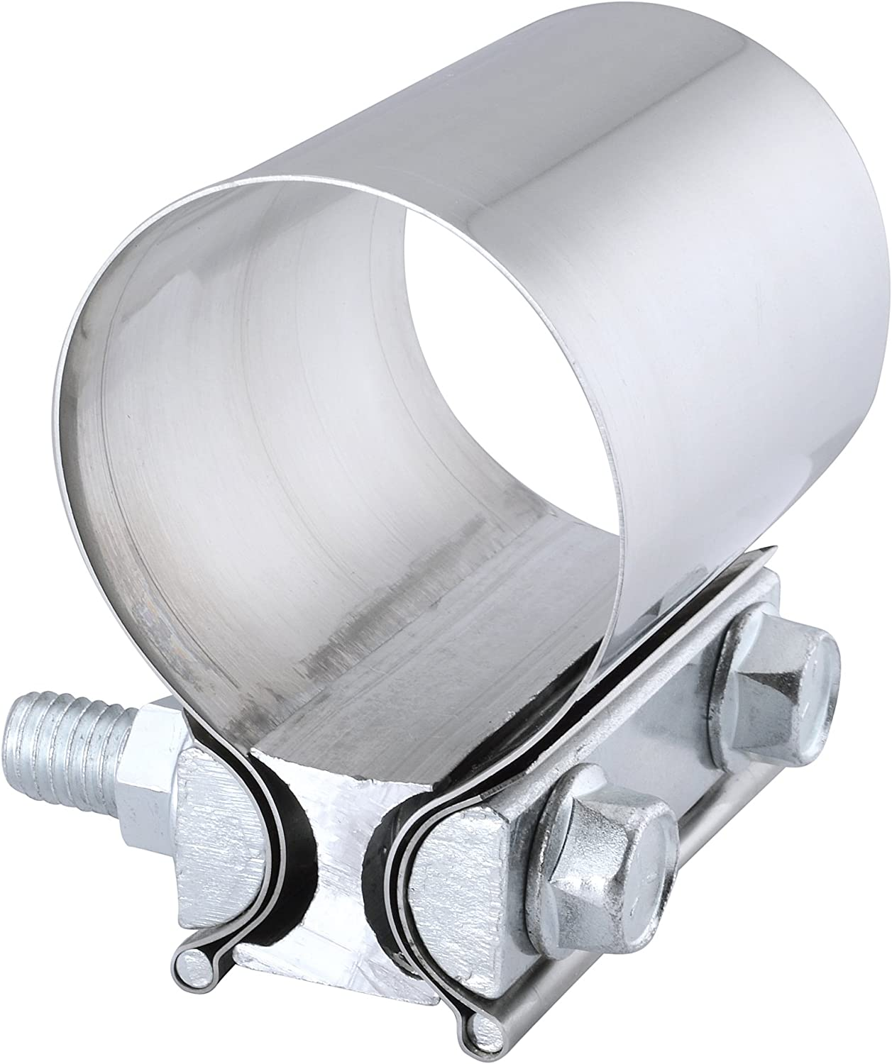 Mufflers and Catalytic Converters 2X 2.0 Inch Stainless Steel Butt Joint Exhaust Band Clamp Sleeve for Exhaust Pipes
