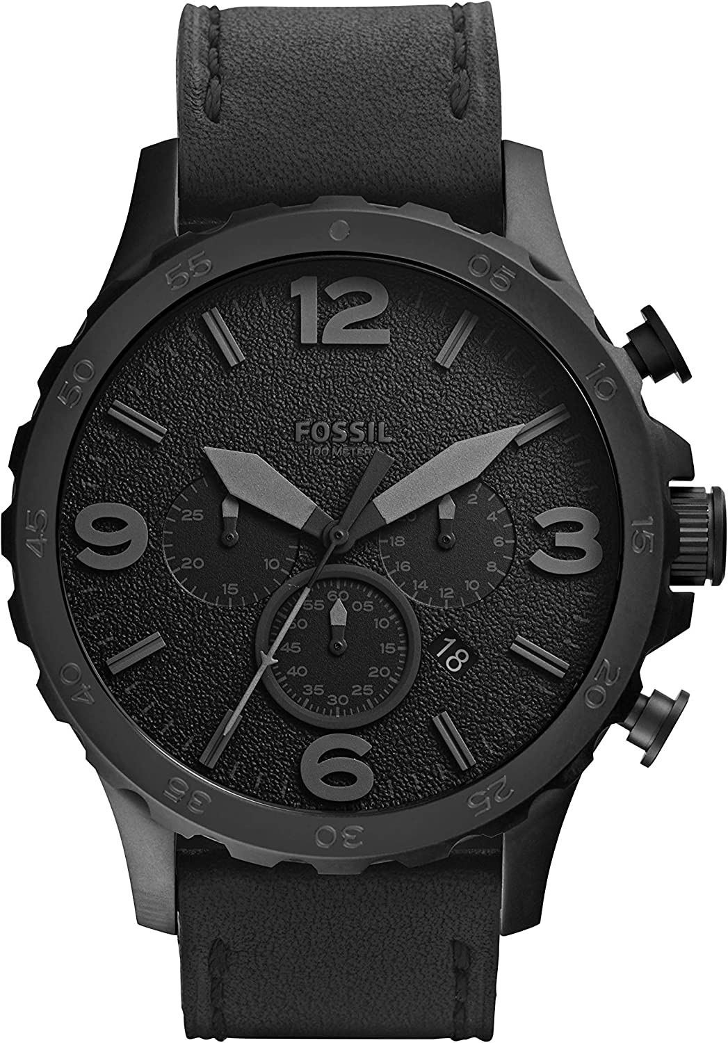 Fossil Men s Nate Quartz Stainless Steel and Leather Casual Watch
