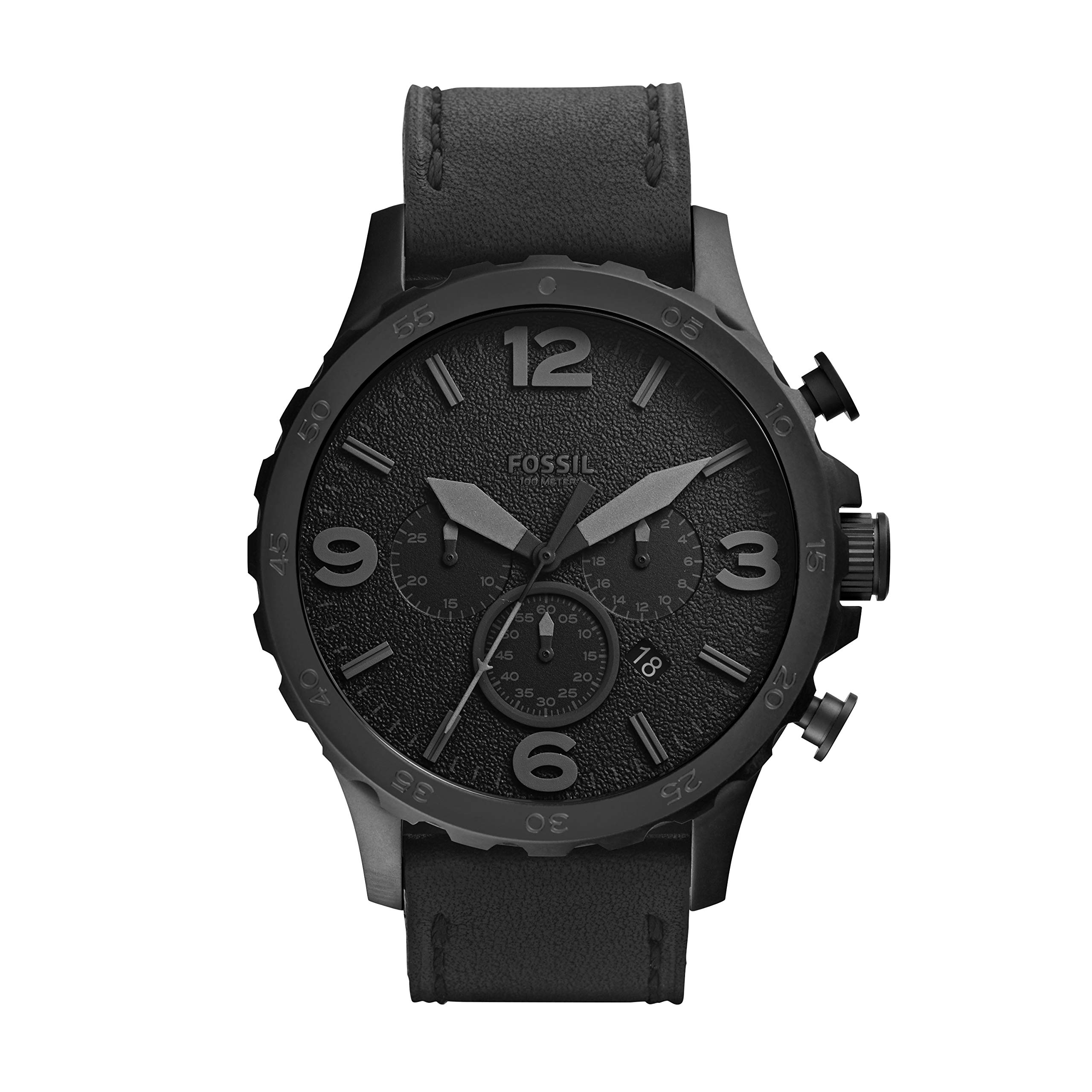 Fossil Men's Nate Quartz Stainless Steel and Leather Chronograph Watch, Color: Black (Model: JR1354) by Fossil