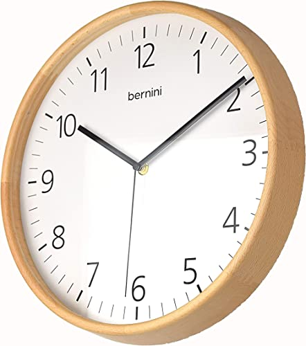 BERNINI Extra Large 14 Wooden Analog Wall Clock Scandinavian Design. Solid Wood, Beech, Frame Wooden Back. Silent Mechanism, Battery Powered, Perfect for Living Room, Kitchen, Kids Bedroom