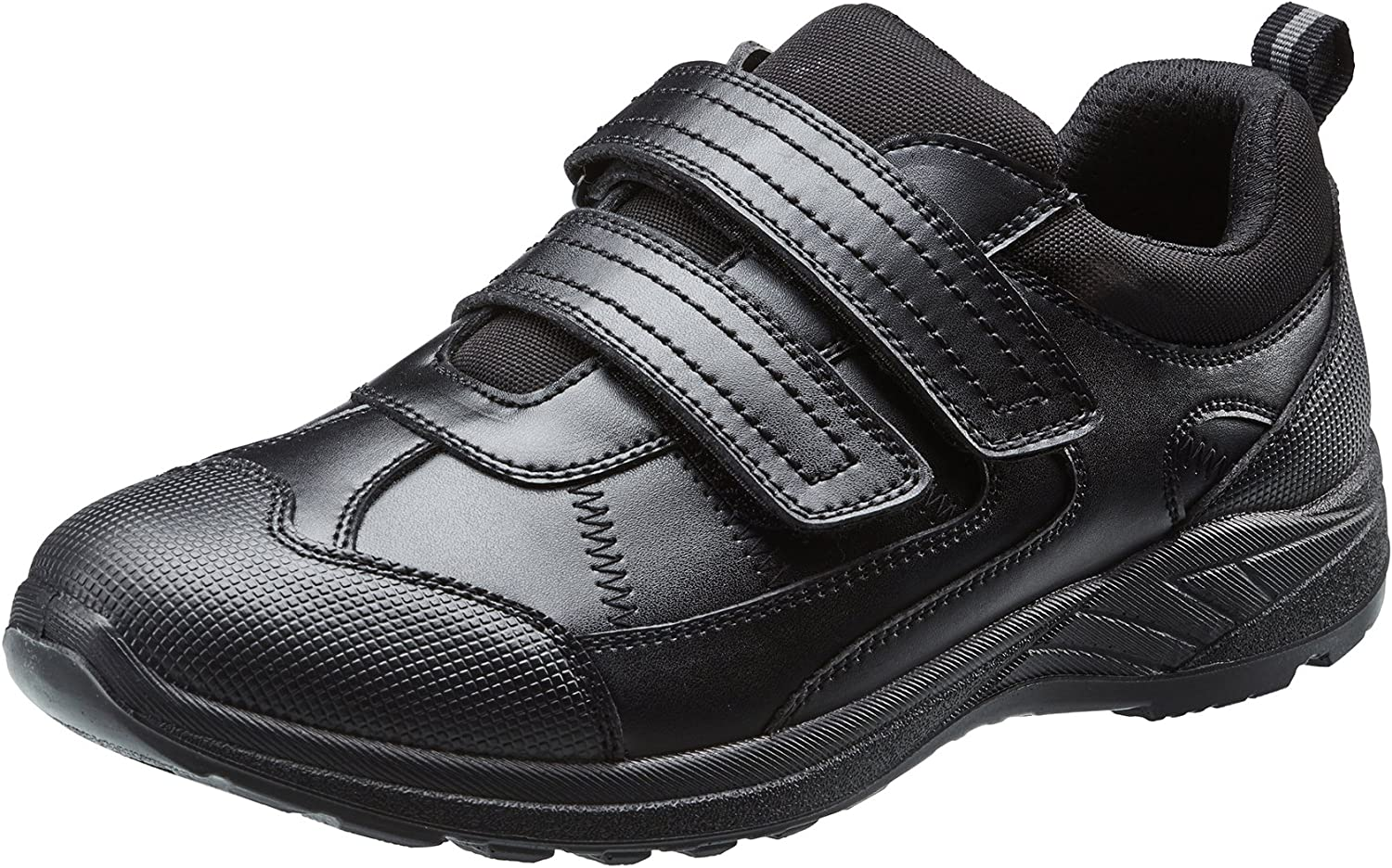 TREADS Kids School Shoes Children/'s Black Leather 12 Month Indestructible Guarantee Touch Fasten Formal Footwear with Adjustable Width /'Dual Fit/' Technology Perfect for Active Boys
