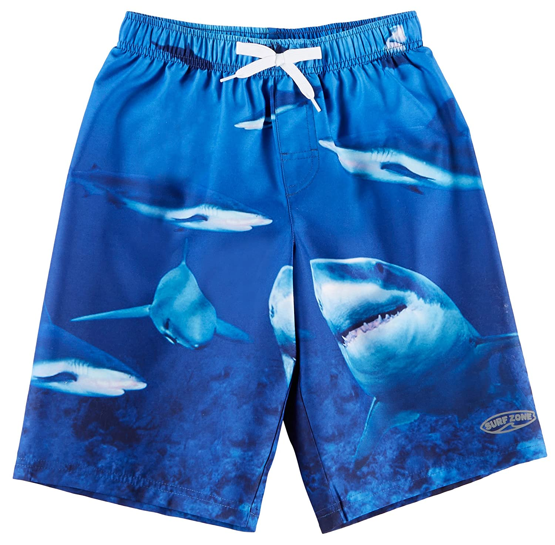 hot Surfer Zone Little Boys Photoreal Shark Swim Shorts save more