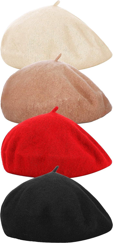 4 Pieces Women Beret Hat...