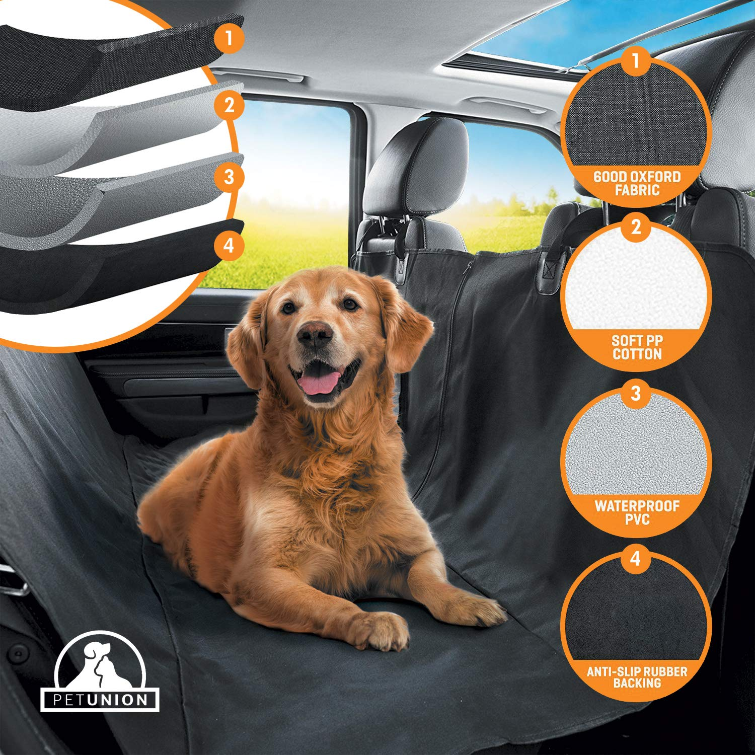 Pet Union Luxury Car Seat Cover/Hammock for Rear Bench (for Large & Small Dogs), Simple Installation & Easy to Clean, Protect Your Car, 100% Waterproof, Anti-Slip Design, Travel Worry-Free by PetTech