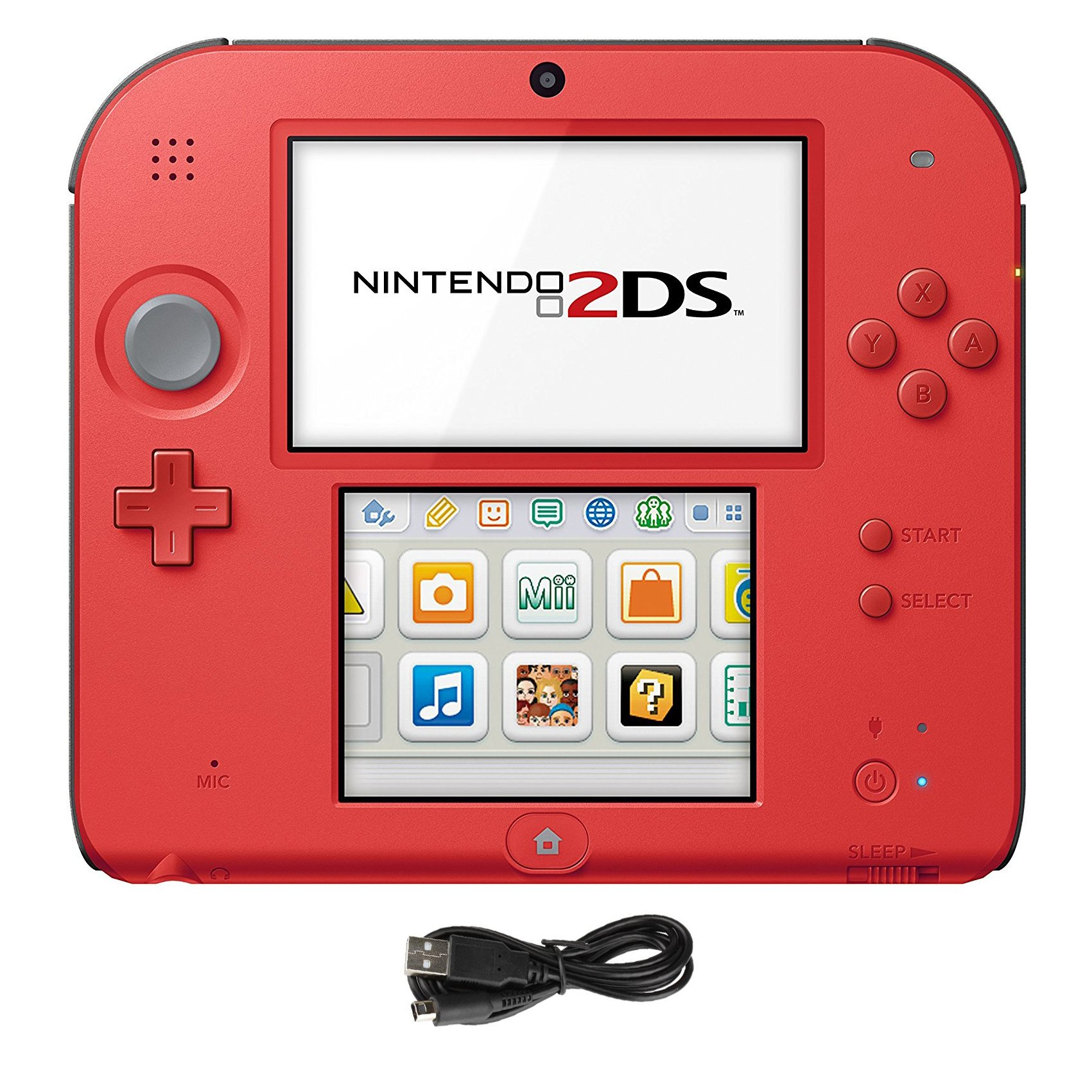 Nintendo 2DS 2 Items Bundle:Nintendo 2DS-Crimson Red 2 w/Mario Kart 7 Console and USB Sync Charge USB Cable by Nintendo2DS