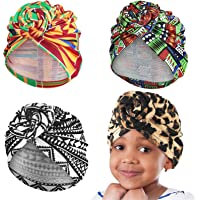 Geyoga 4 Pieces Kid African Turban Print Knot Pre-Tied Beanie Headwrap