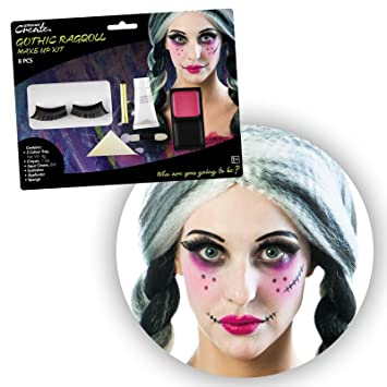 Ladies Gothic Rag Doll Makeup Kit with Eyelashes Halloween SFX